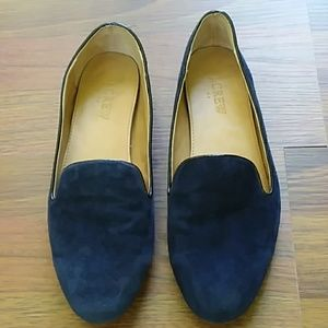 J. Crew navy leather flats